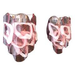 1970s Pair of Vintage Italian Murano Wall Lights, Pink Lattimo Glasses