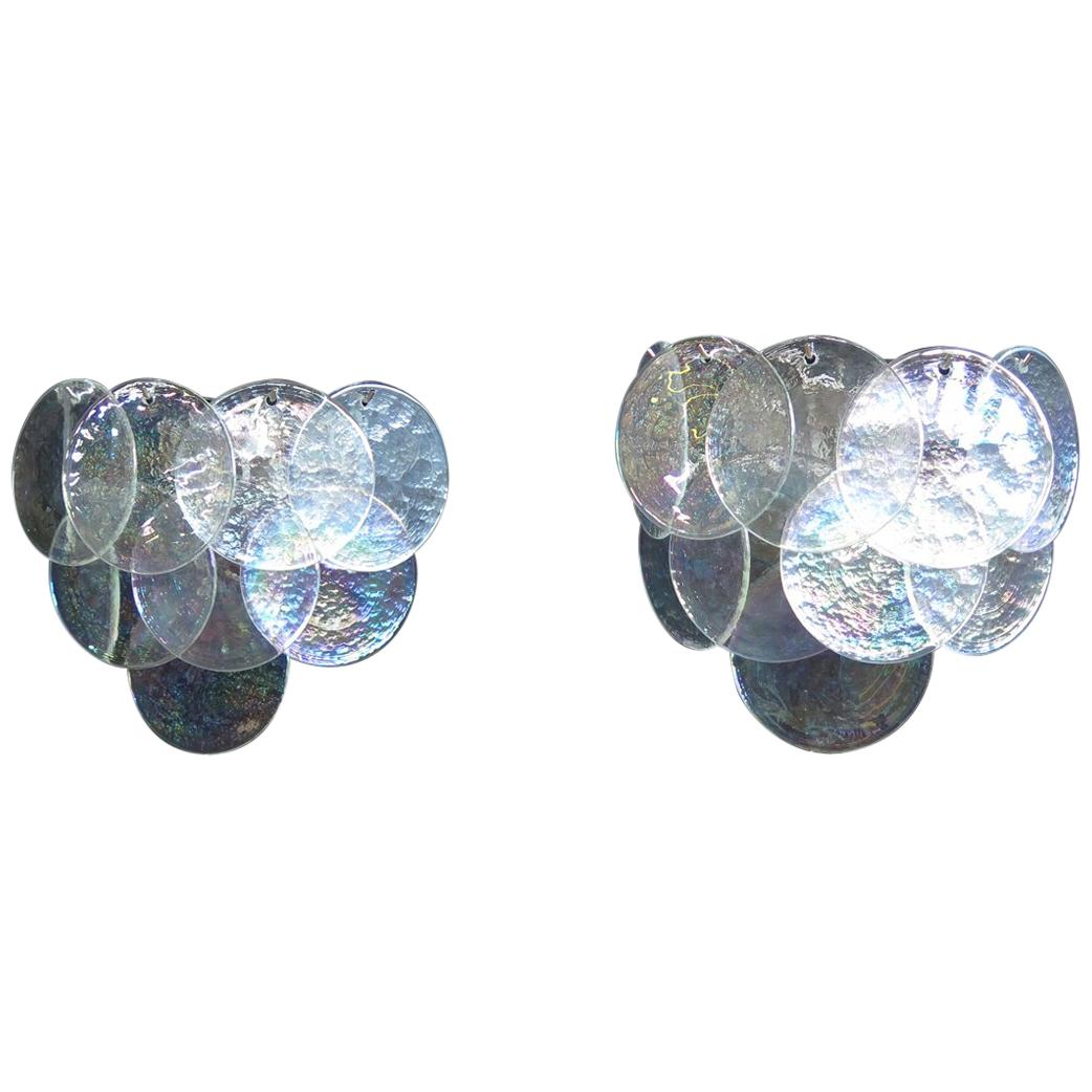 1970s Pair of Vistosi Sconces, 10 Iridescent Murano Glasses