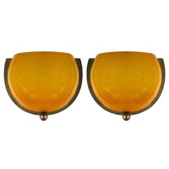 1970s Pair of Wall Lights, Brass, Yellow-Orange Bubble Molten Glass, Italy