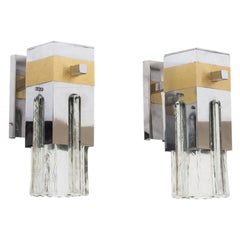 1970s Pair of Wall Lights Italian Design by Gaetano Sciolari, Clear Glass Shades