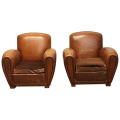 1970s Pair of Wide French Leather Club Chairs