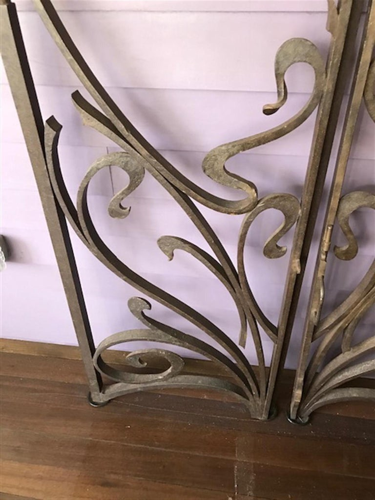 1970s Pair of Wrought Iron Art Nouveau Style Gates from ...