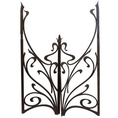 1970s Pair of Wrought Iron Art Nouveau Style Gates from France