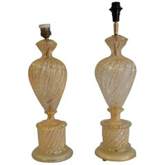 1970s Pair or Similar of Barovier y Toso Lamps with Gold Paillons Murano Crystal
