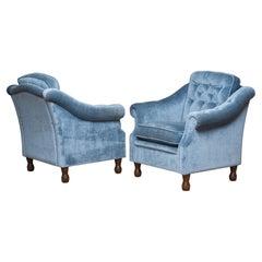 1970s Pair Swedish Hollywood Regency Lounge Velvet Chairs by Broderna Andersson