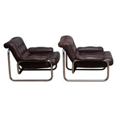 Pair of Tubular Chrome Brown Leather Lounge Chairs by Johan Bertil Häggström