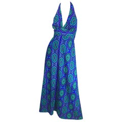 1970s Paisley Purple Blue Green Boho Vintage Cotton Rayon 70s Maxi Halter Dress