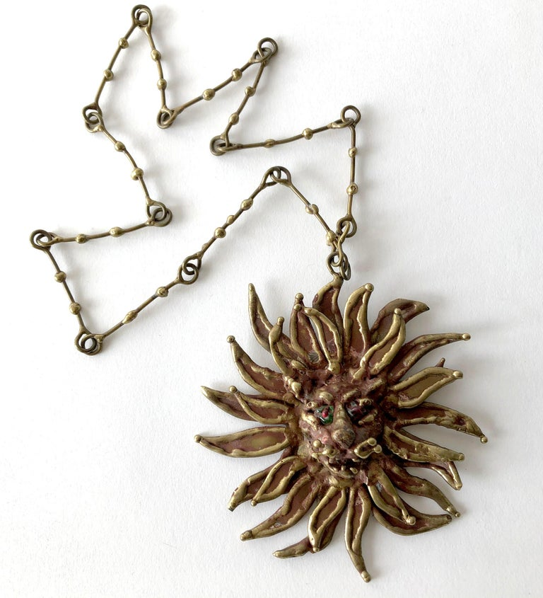 1970s Pal Kepenyes Bronze Glass Lion Sun Necklace In Good Condition For Sale In Los Angeles, CA