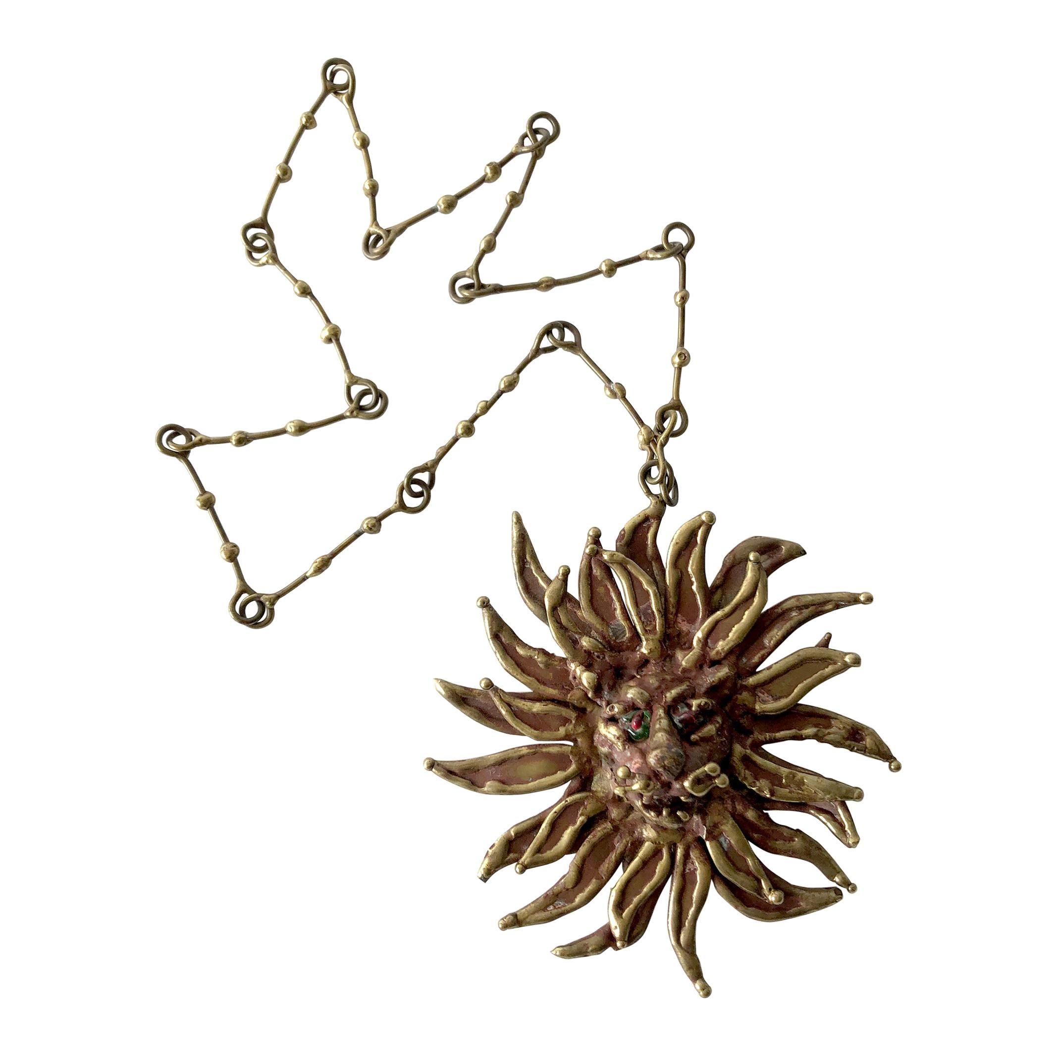 1970s Pal Kepenyes Bronze Glass Lion Sun Necklace