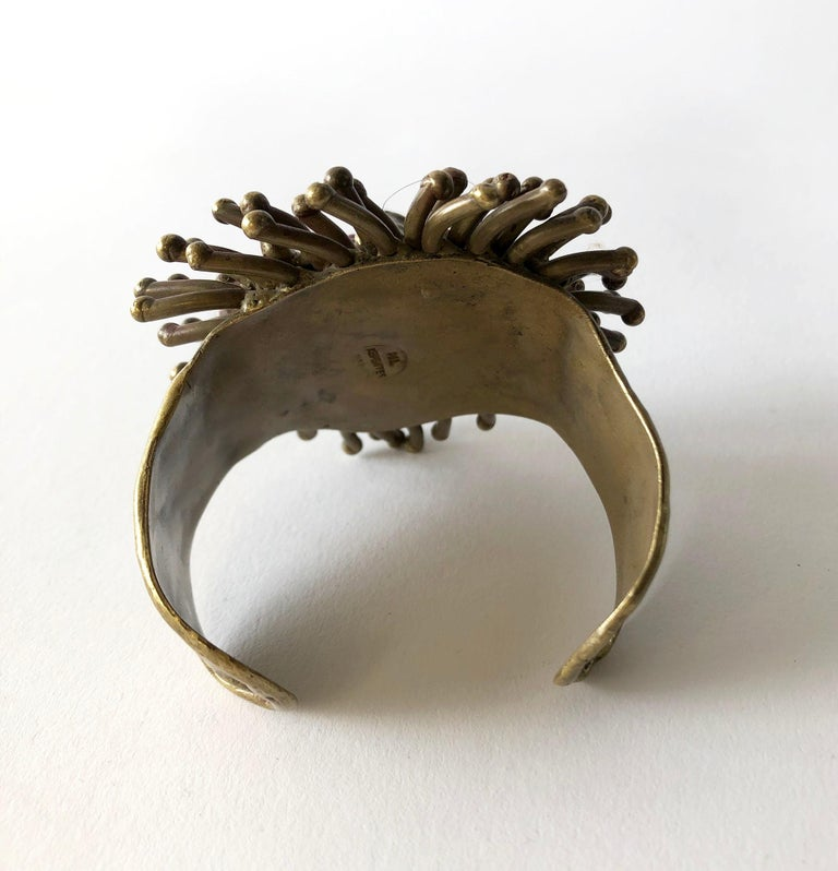 Artisan 1970s Pal Kepenyes Mexican Modernist Bronze Glass Eyed Lion Cuff Bracelet For Sale