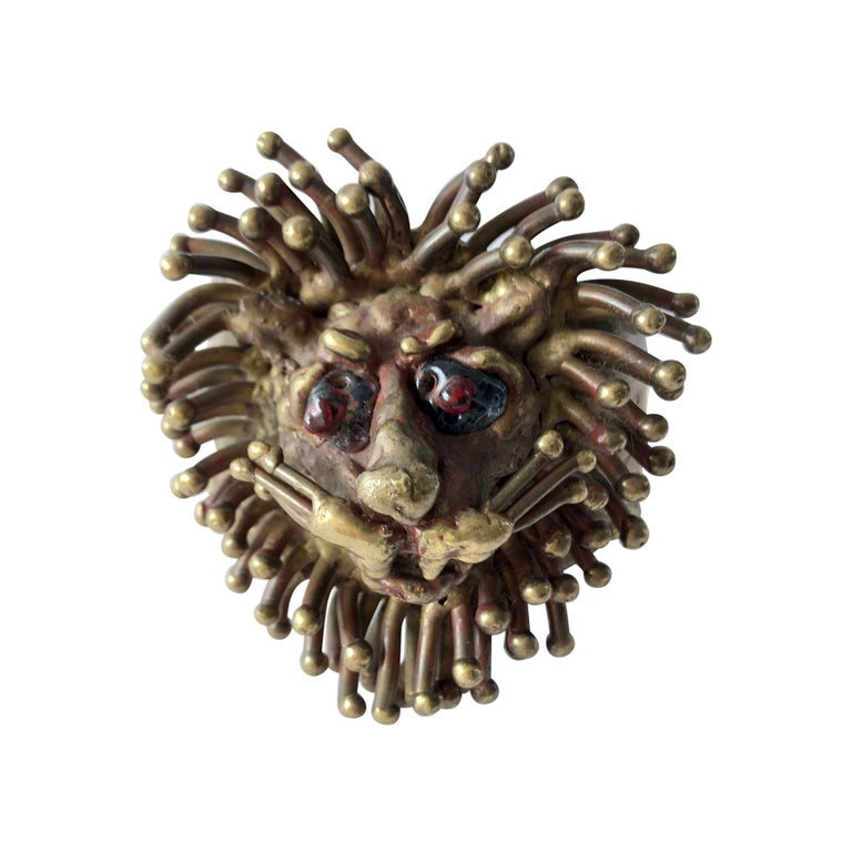 1970s Pal Kepenyes Mexican Modernist Bronze Glass Eyed Lion Cuff Bracelet For Sale