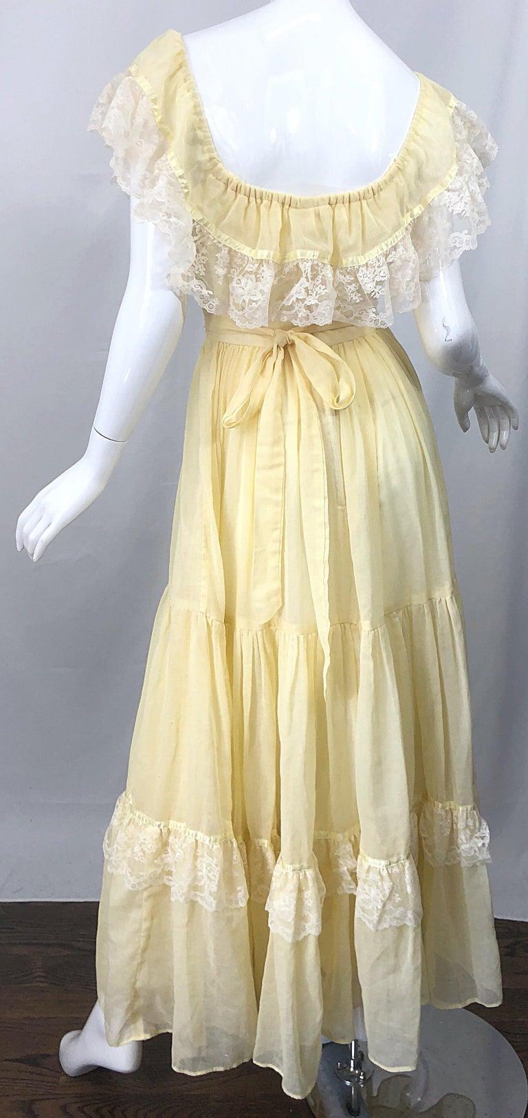 1970s Pale Light Yellow Cotton Voile + Lace Vintage Boho 70s Maxi Dress For Sale 6