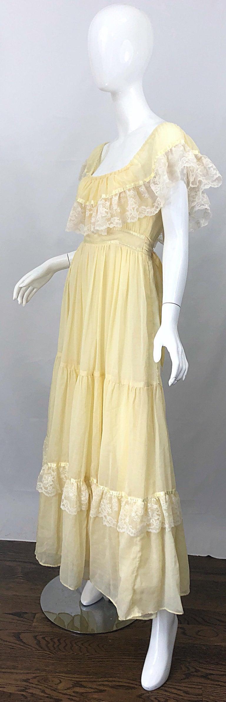 1970s Pale Light Yellow Cotton Voile + Lace Vintage Boho 70s Maxi Dress For Sale 7