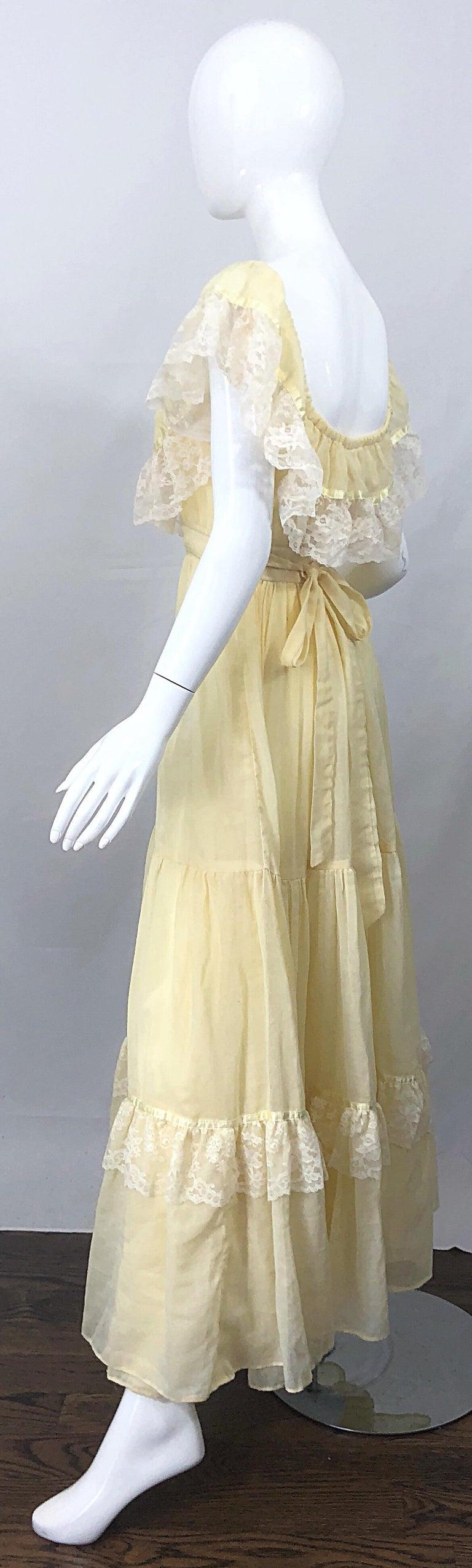 1970s Pale Light Yellow Cotton Voile + Lace Vintage Boho 70s Maxi Dress For Sale 8