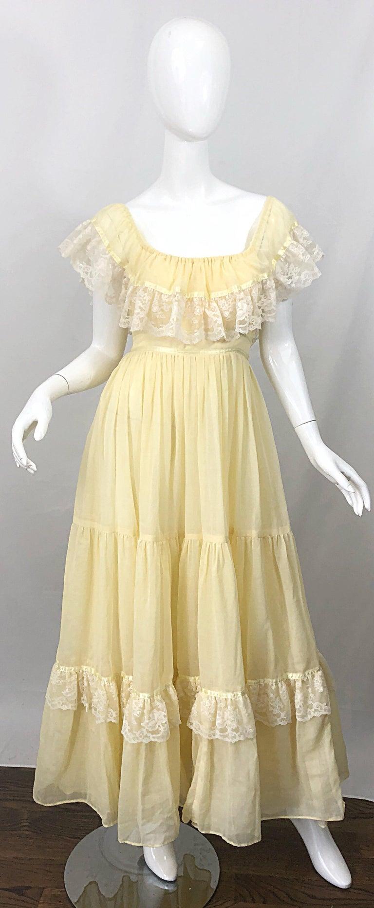 1970s Pale Light Yellow Cotton Voile + Lace Vintage Boho 70s Maxi Dress For Sale 9