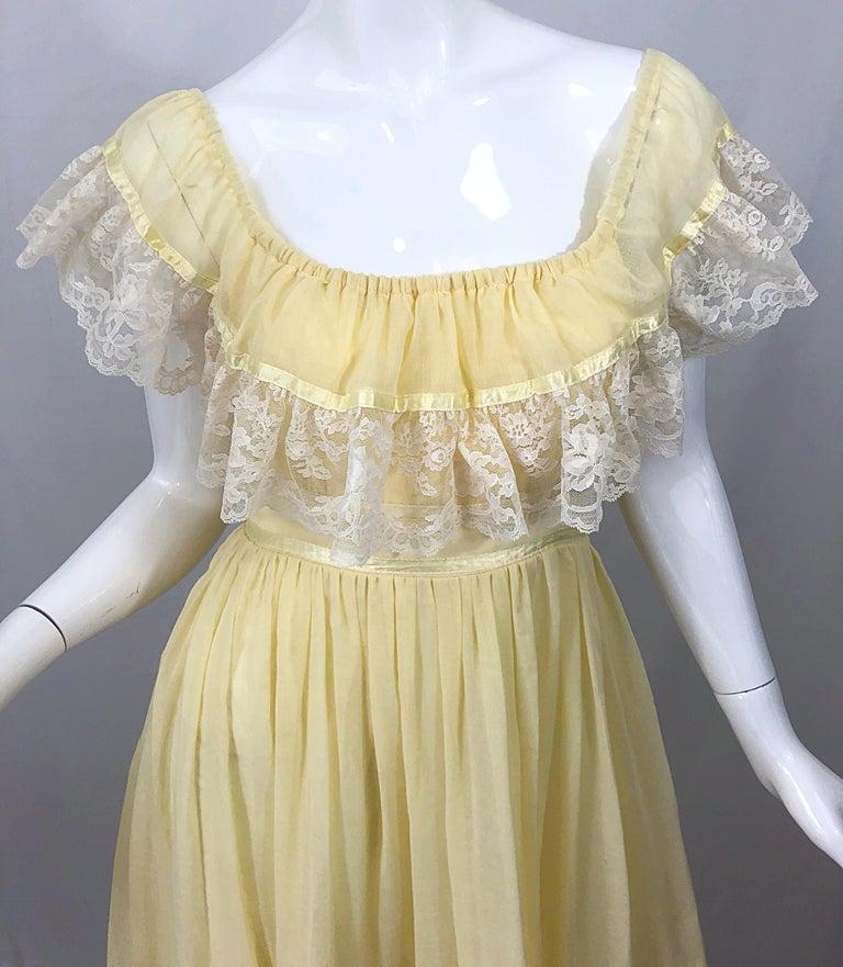 Beige 1970s Pale Light Yellow Cotton Voile + Lace Vintage Boho 70s Maxi Dress For Sale