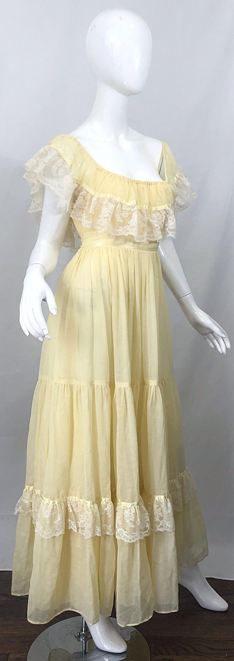 Women's 1970s Pale Light Yellow Cotton Voile + Lace Vintage Boho 70s Maxi Dress For Sale