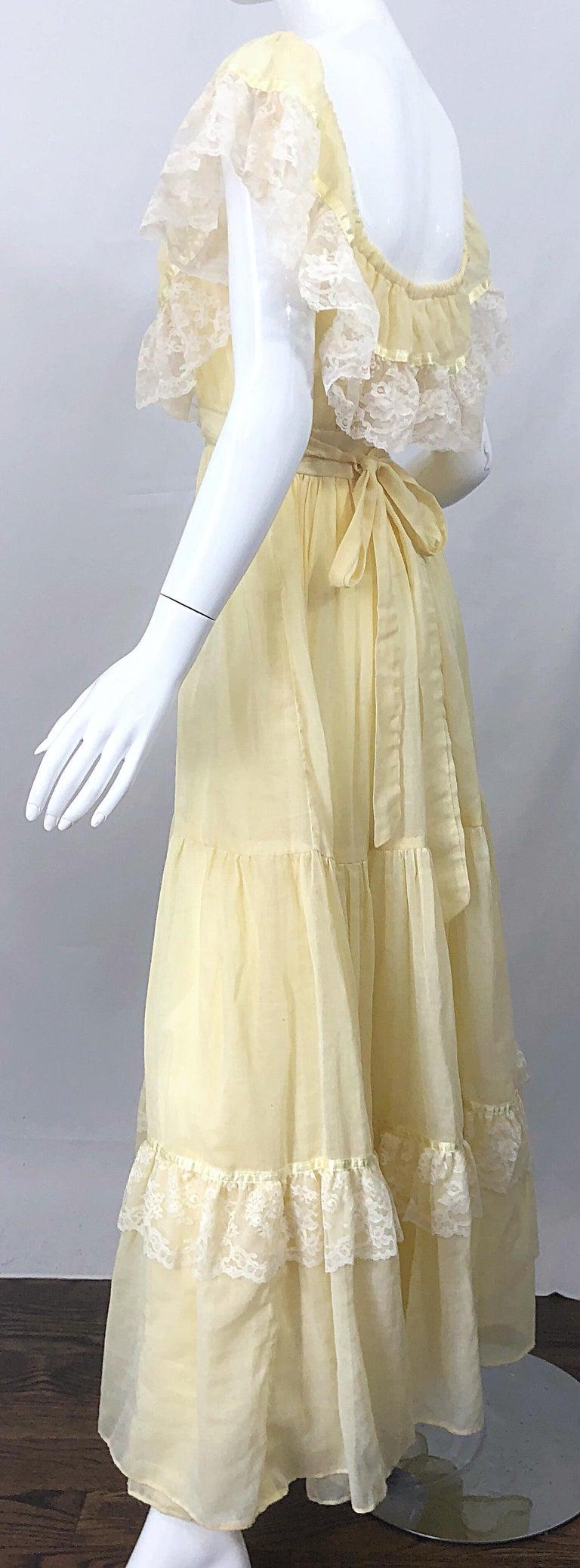 1970s Pale Light Yellow Cotton Voile + Lace Vintage Boho 70s Maxi Dress For Sale 1