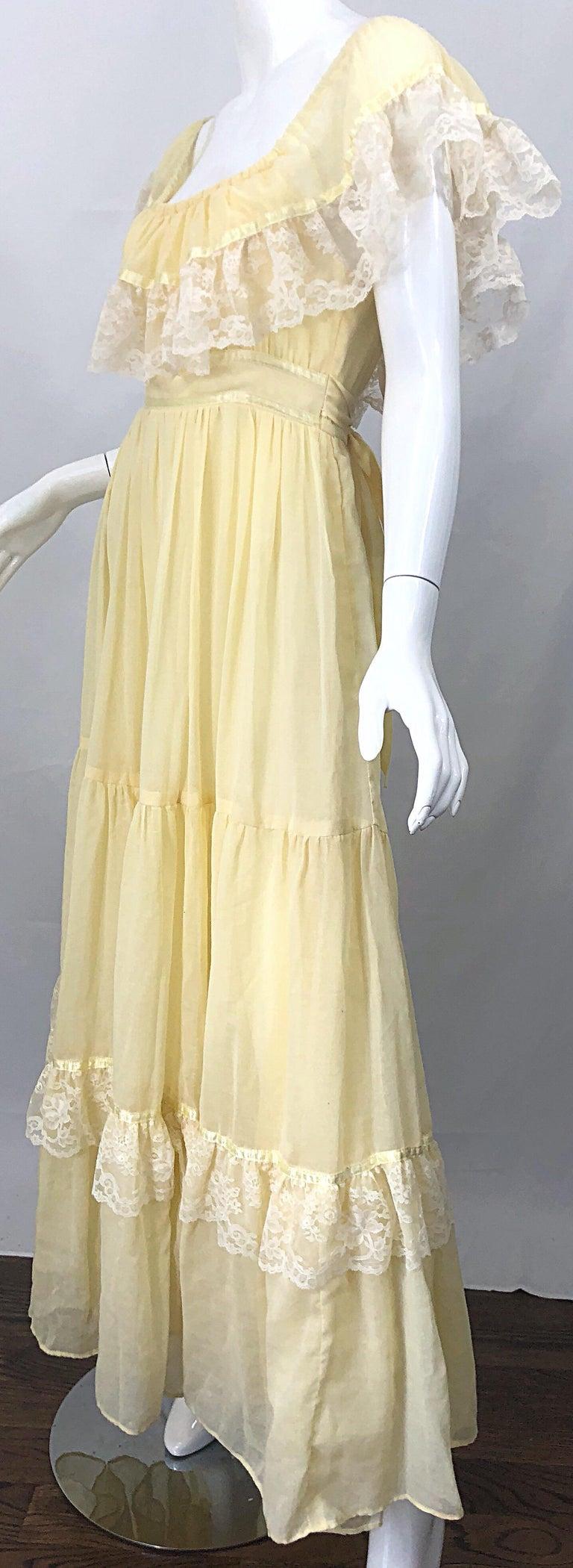 1970s Pale Light Yellow Cotton Voile + Lace Vintage Boho 70s Maxi Dress For Sale 2