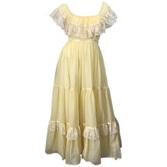 1970s Pale Light Yellow Cotton Voile + Lace Vintage Boho 70s Maxi Dress