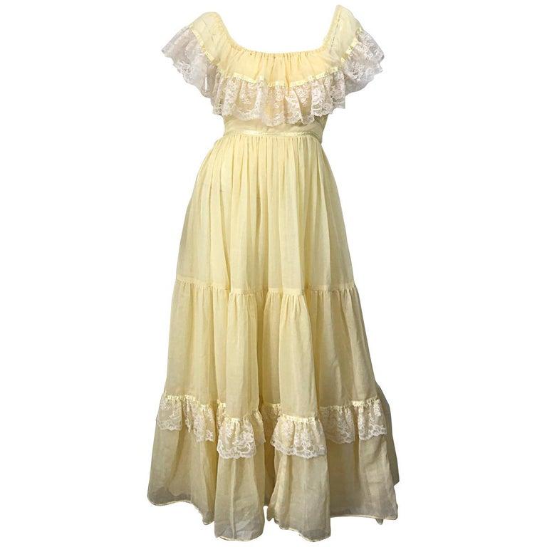 1970s Pale Light Yellow Cotton Voile + Lace Vintage Boho 70s Maxi Dress For Sale