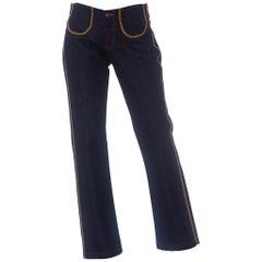 1970S PALMIERI Cotton Dark Denim  Jeans With Multicolor Topstitching