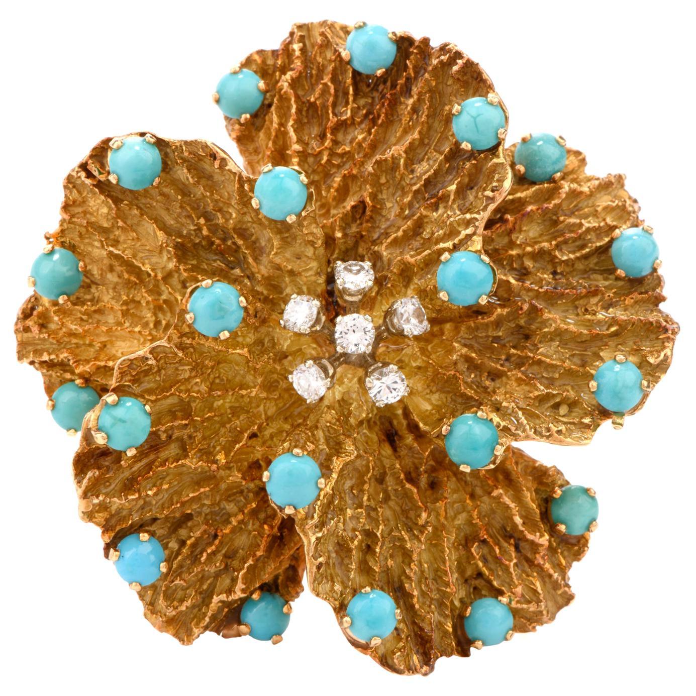 1970s Pansy Diamond Persian Turquoise 18 Karat Brooch Pin