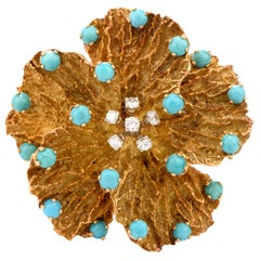 1970s Pansy Diamond Persian Turquoise 18 Karat Brooch Pin