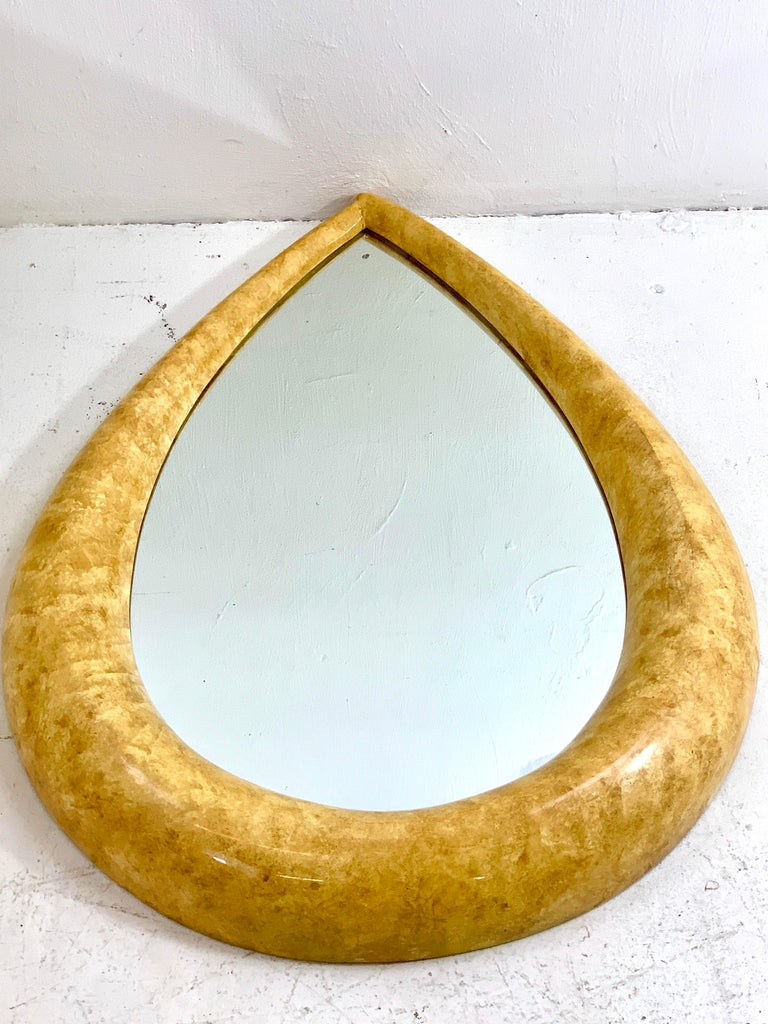 1970s Parchment Lacquered Raindrop Mirror At 1stdibs