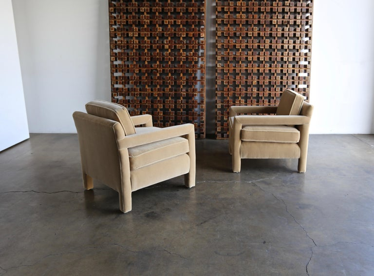 American 1970s Parsons Lounge Chairs in Mohair For Sale