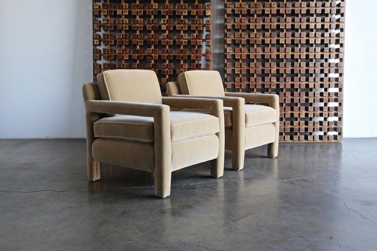 1970s Parsons lounge chairs expertly restored in Maharam Mohair.