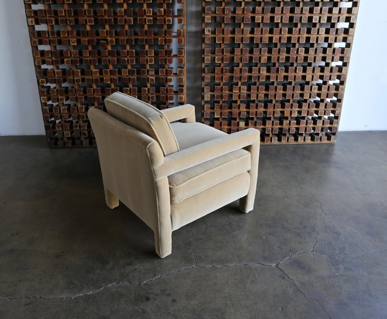 1970s Parsons Lounge Chairs in Mohair For Sale 5