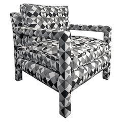 1970s Parsons Style Lounge Chair in Black, White and Grey Geometric Fabric