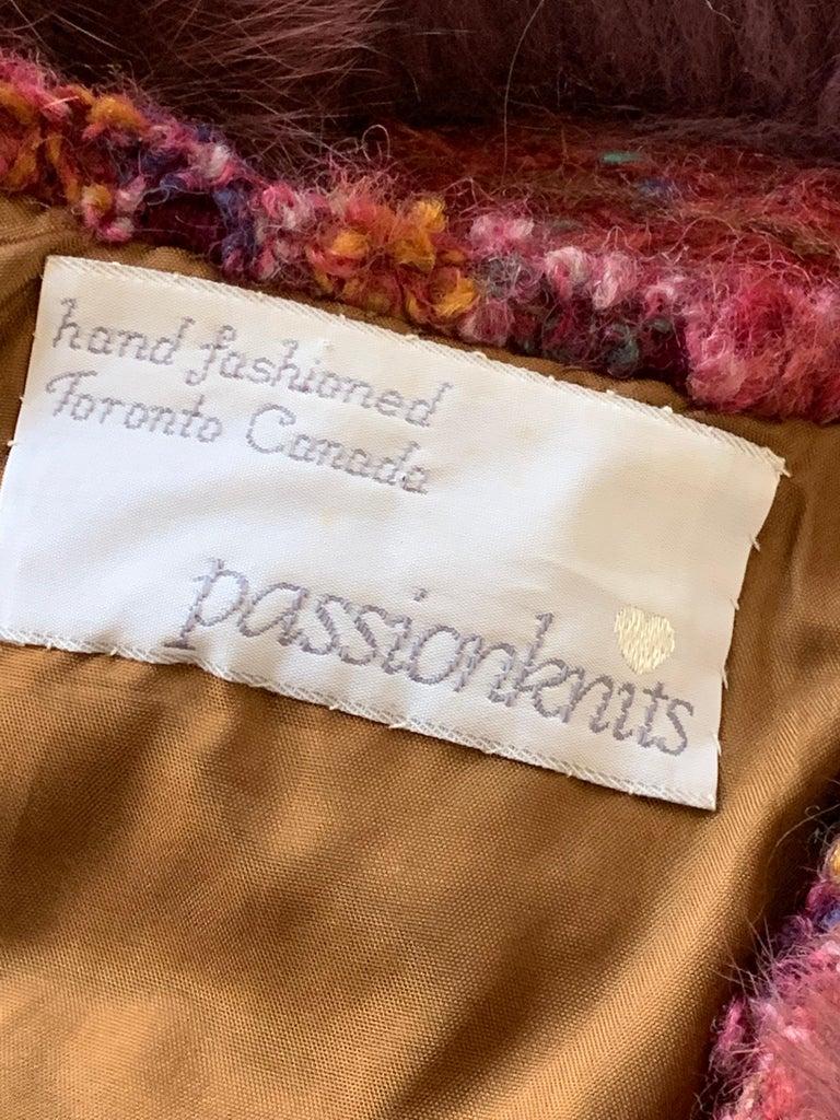 1970s PassionKnits Art To Wear Vest W/ Fox Fur Trim In Burgundy & Orange Sunset  For Sale 7