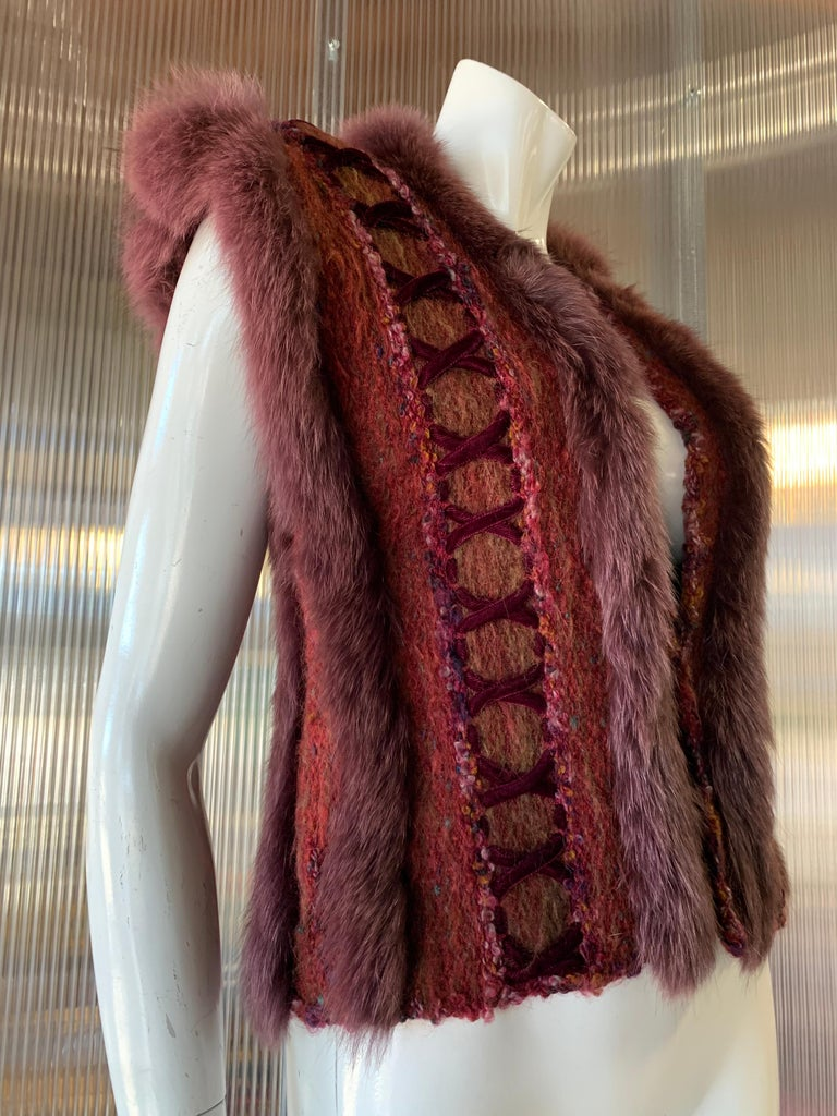 1970s PassionKnits Art To Wear Vest W/ Tinted Fox Fur Trim, Bouclé and Velvet Lacing Detail In Burgundy & Orange Sunset Colors. No front closure. Hand made in Toronto, Canada.
