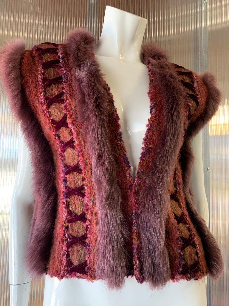 Women's 1970s PassionKnits Art To Wear Vest W/ Fox Fur Trim In Burgundy & Orange Sunset  For Sale