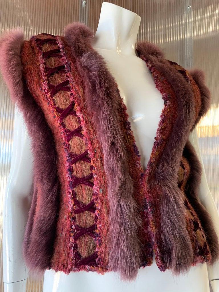 1970s PassionKnits Art To Wear Vest W/ Fox Fur Trim In Burgundy & Orange Sunset  For Sale 1