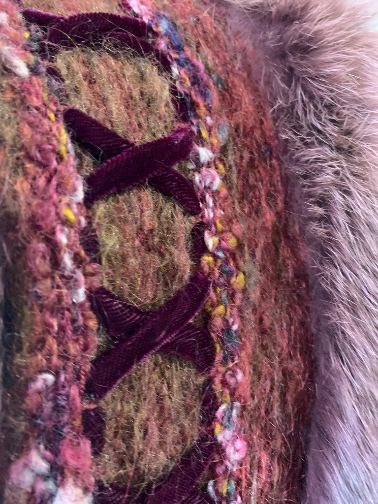 1970s PassionKnits Art To Wear Vest W/ Fox Fur Trim In Burgundy & Orange Sunset  For Sale 2