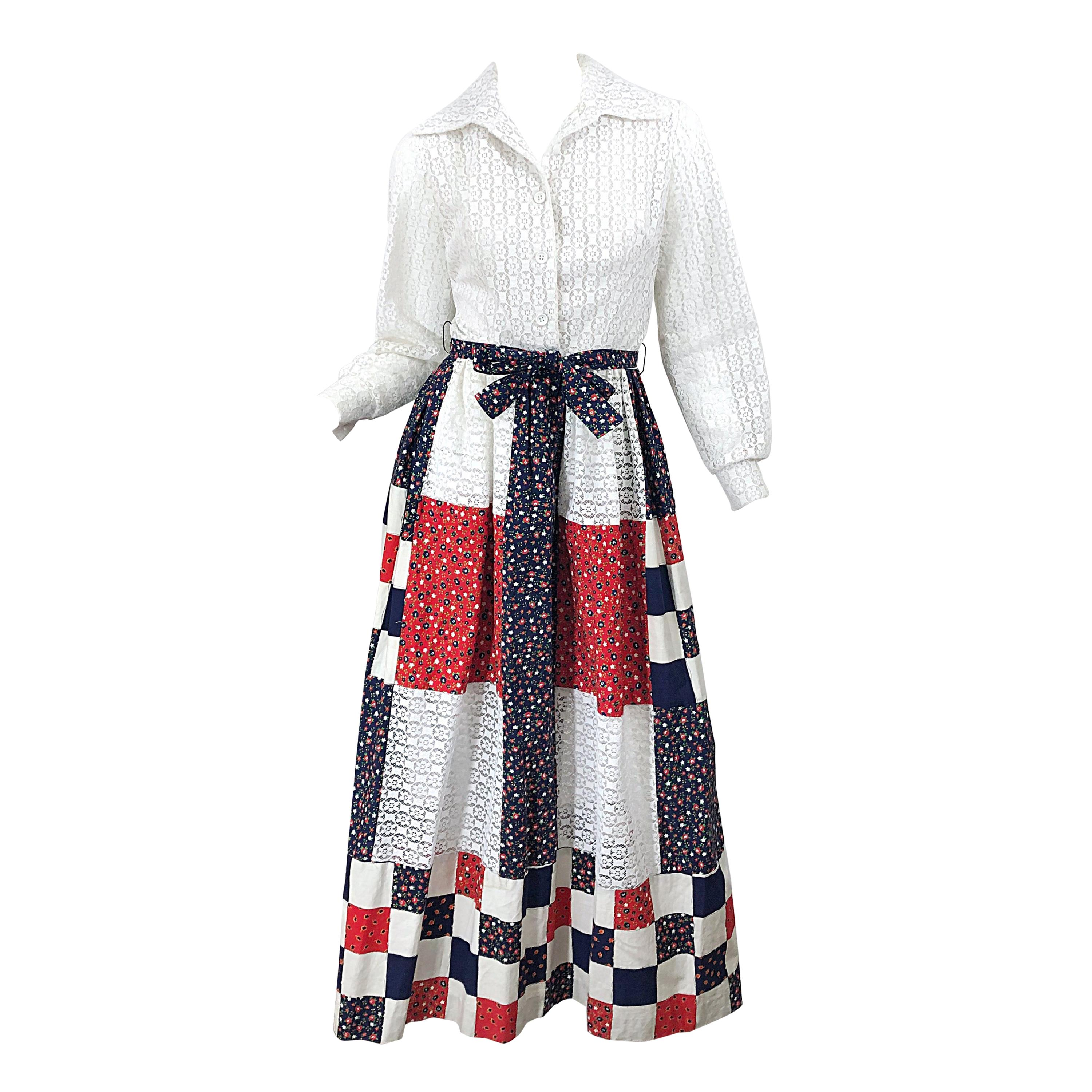 1970s Patchwork Eyelet Lace Red White and Blue Long Sleeve Vintage Maxi Dress