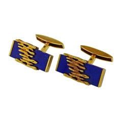 1970s Patek Philippe Lapis Lazuli Gold Cufflinks