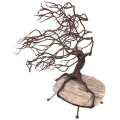 1970s Patinated Bronze Abstract Tree Brutalist Table Sculpture on Raw Stone Base