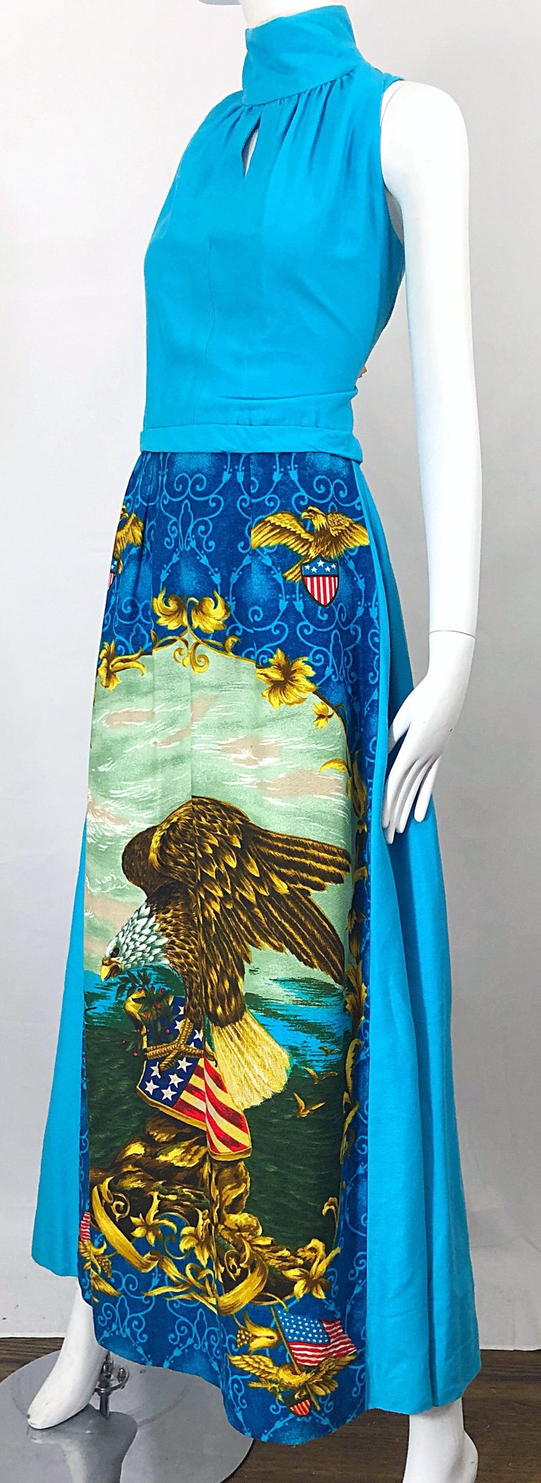1970s Patriotic Blad Eagle USA Patriotic Red, White and Blue 70s Maxi Dress For Sale 8