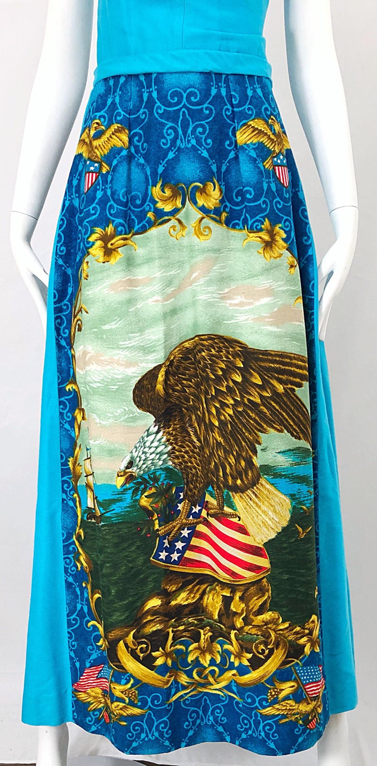 Women's 1970s Patriotic Blad Eagle USA Patriotic Red, White and Blue 70s Maxi Dress For Sale