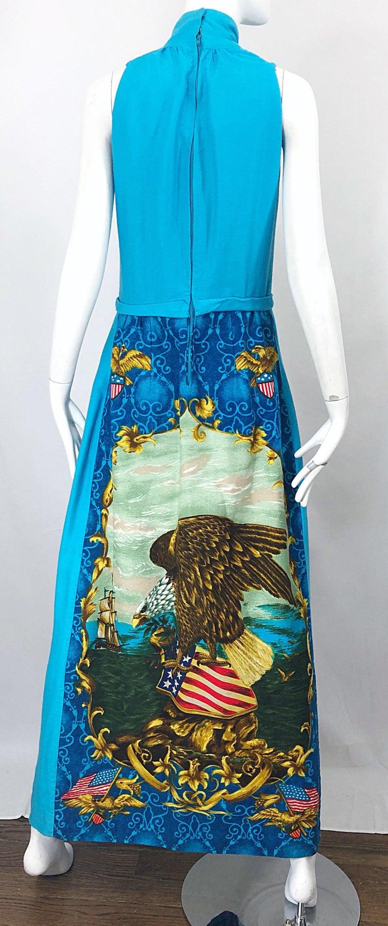 1970s Patriotic Blad Eagle USA Patriotic Red, White and Blue 70s Maxi Dress For Sale 3