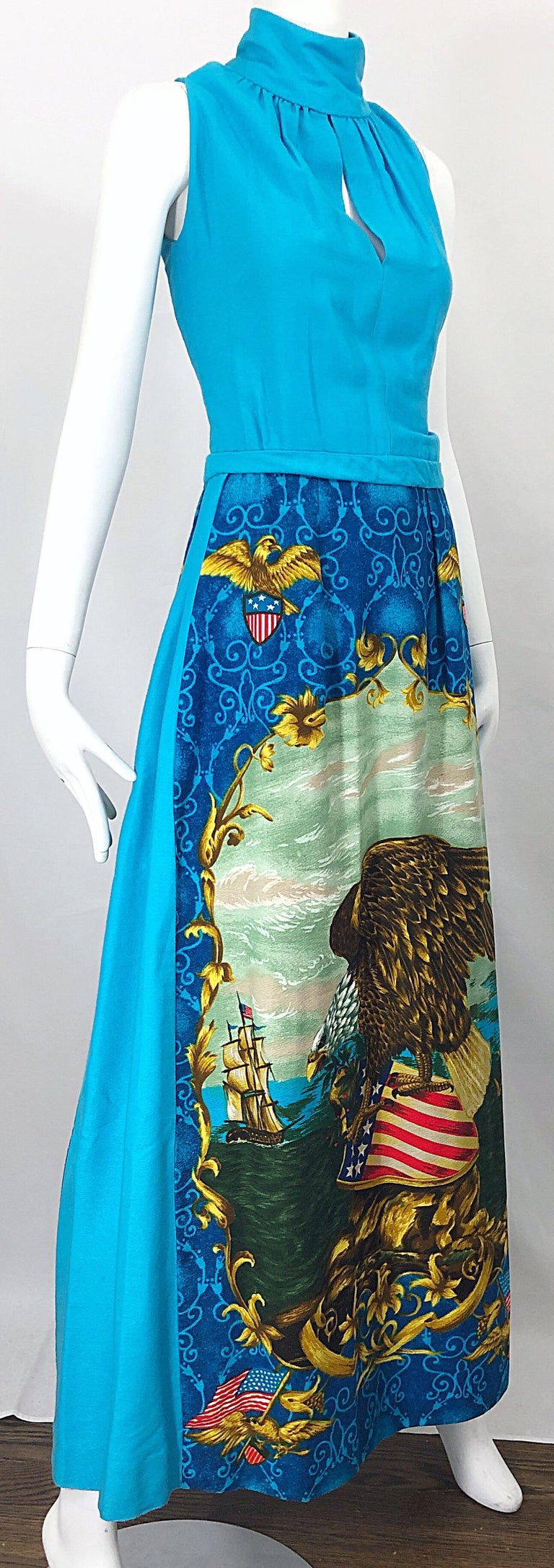 1970s Patriotic Blad Eagle USA Patriotic Red, White and Blue 70s Maxi Dress For Sale 4