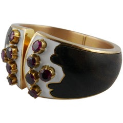 1970s Paul Binder Wood Enamel Ruby and Yellow Gold Cuff Bracelet