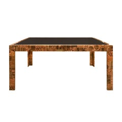 1970s Paul Evans Patchwork Metal Dining Table with Smoked Glass Top