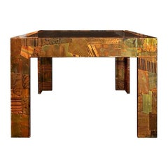 1970s Paul Evans Style Patchwork Metal Cocktail Table