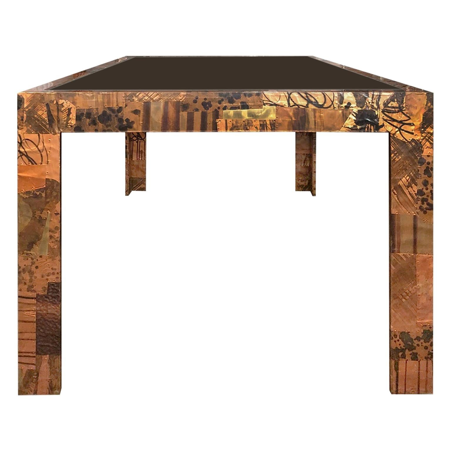 1970s Paul Evans Style Patchwork Metal Dining Table with Smoked Glass Top