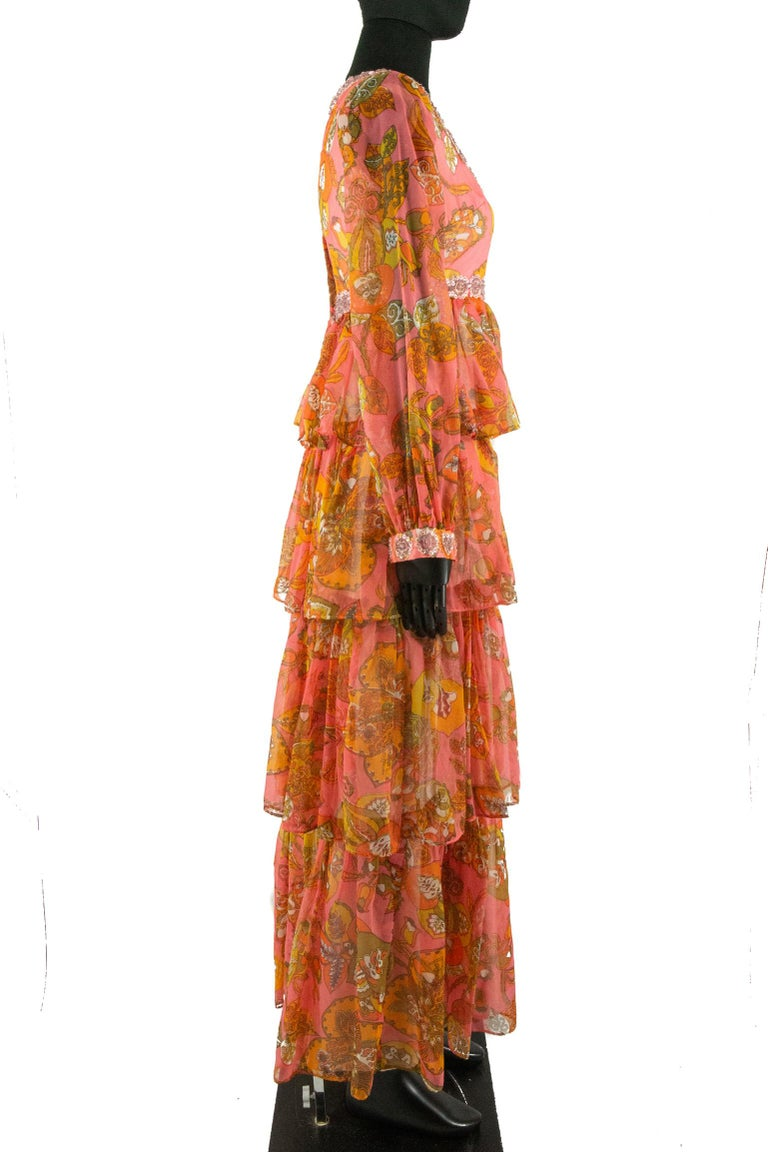 Orange 1970s Pauline Coral Psychedelic Print Dress For Sale